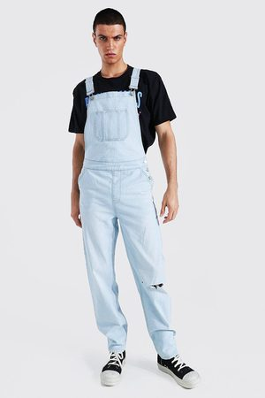 Boohooman Relaxed Fit Knee Slash Long Dungaree Homme