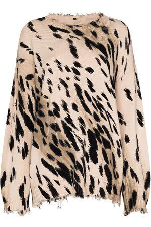 R13 Femme Pulls en maille - Pull oversize à motif léopard