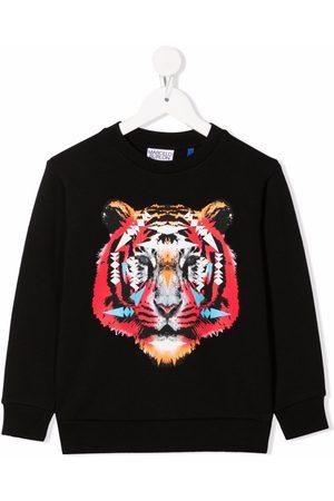 MARCELO BURLON Garçon Sweatshirts - CROSS TIGER CREWNECK BLACK CORAL RED