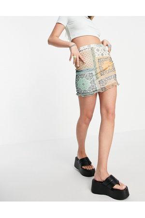 daisy street Mini-jupe à bords ondulés en tulle effet patchwork