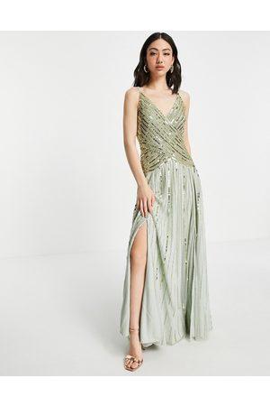 ASOS DESIGN Femme Robes de soirée - Robe longue à ornement linéaire avec jupe transparente