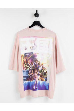 ASOS DESIGN T-shirt oversize avec imprimé Kingdom of Hearts - Rose