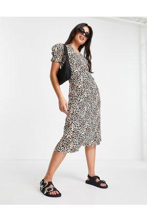 Influence Robe rétro mi-longue à imprimé léopard