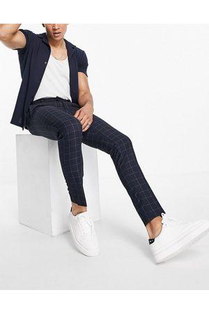 New Look Pantalon skinny habillé à carreaux - marine