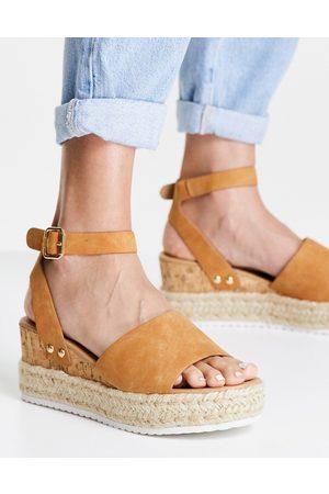 Glamorous Sandales à plateforme style espadrilles - Fauve