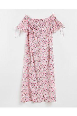 Influence Robe mi-longue style Bardot en popeline de coton à imprimé floral