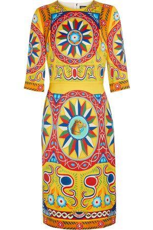Dolce & Gabbana Robe midi en crêpe de soie extensible imprimée