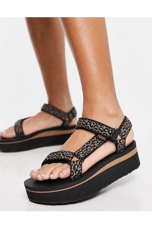 Teva Universal - Sandales chunky à semelle plateforme et petit imprimé léopard - Noir