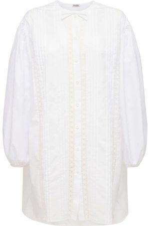 Miu Miu Robe Chemsie Longue En Popeline De Coton