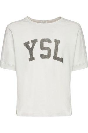Saint Laurent T-shirt En Coton Imprimé Logo