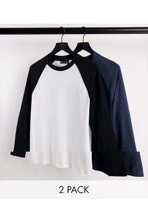 ASOS DESIGN Homme Manches longues - Lot de 2 t-shirts à manches longues raglan