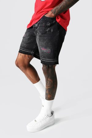 Boohoo Relaxed Fit Rip And Repair Denim Short Homme