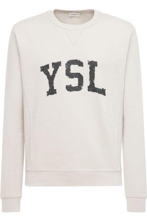 Saint Laurent Sweat-shirt En Coton Imprimé Logo