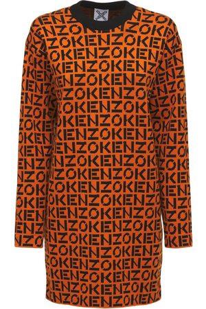 Kenzo Robe En Maille De Coton Mélangé Motif Monogramme