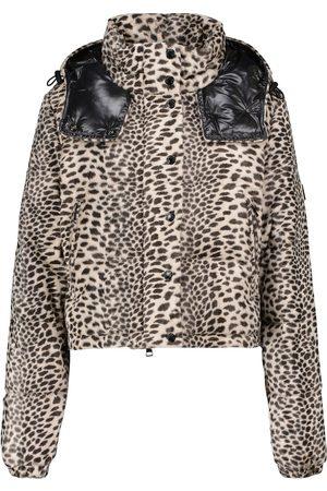 Moncler Veste doudoune Avoine raccourcie à motif léopard
