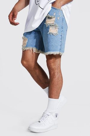 Boohooman Relaxed Fit Multi Rip Denim Short Homme