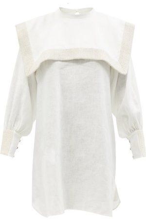 Les Vacances d'Irina Femme Robes d'été - Robe courte en lin à col carré Puritan