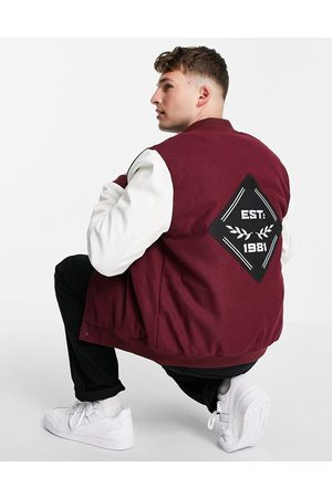 ASOS Bomber style universitaire avec manches en imitation cuir - et blanc
