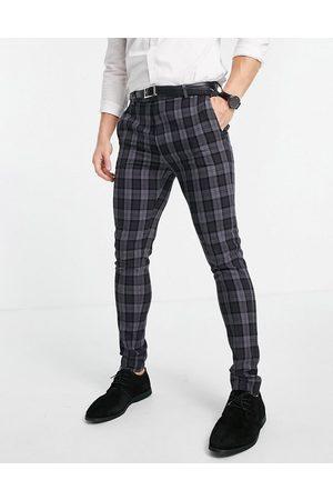 ASOS Pantalon de costume super skinny à carreaux oxford - Anthracite