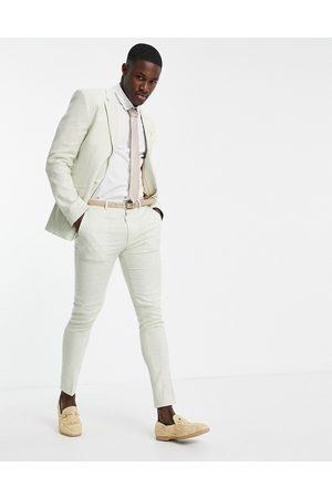 ASOS DESIGN Homme Pantalons Slim & Skinny - Wedding - Pantalon de costume super slim en lin à petits carreaux pied-de-poule