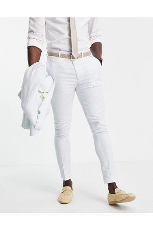 ASOS Wedding - Pantalon de costume super slim en lin à petits carreaux pied-de-poule
