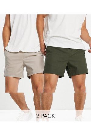 ASOS DESIGN Lot de 2 shorts chino slim - Kaki foncé et beige - Économie