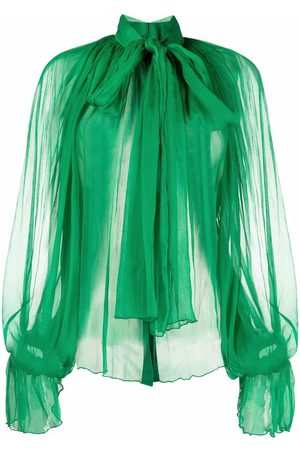 Atu Body Couture Sheer pleated pussybow blouse