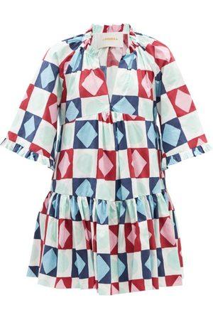 La DoubleJ Femme Robes imprimées - Robe courte en coton à imprimé Diamond Dots Dove