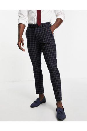ASOS Wedding - Pantalon de costume ultra skinny en laine mélangée à carreaux - marine