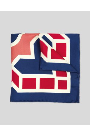 Charles Tyrwhitt Large Tile Print Silk Pocket Square - Navy & Red Size OSFA by