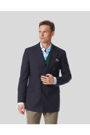 Charles Tyrwhitt Plain Wool Double Breasted Blazer - Navy Size 38L Long by