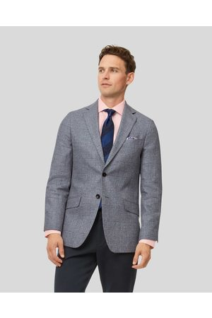 Charles Tyrwhitt Prince Of Wales Checkered Cotton Linen Mix Jacket - Light Size 36R Regular by
