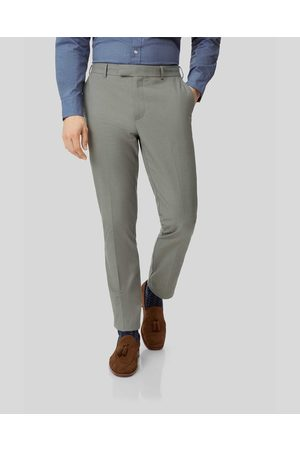 Charles Tyrwhitt Non-Iron Stretch Trousers - Olive Size W34 L32 by