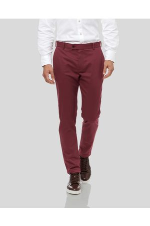 Charles Tyrwhitt Ultimate Non-Iron Cotton Chino Trousers - Berry Size W32 L30 by