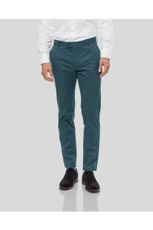 Charles Tyrwhitt Ultimate Non-Iron Cotton Chino Trousers - Teal Size W32 L30 by