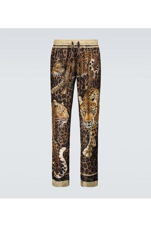 Dolce & Gabbana Pantalon de pyjama en soie à imprimé léopard
