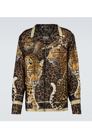 Dolce & Gabbana Chemise de pyjama en soie à imprimé léopard