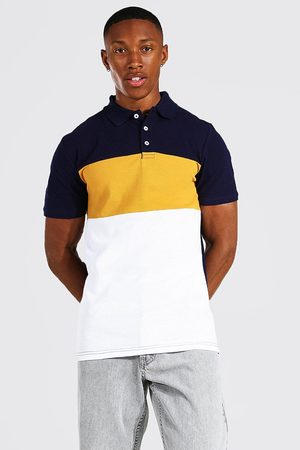 Boohoo Muscle Fit Colour Block Pique Polo Homme
