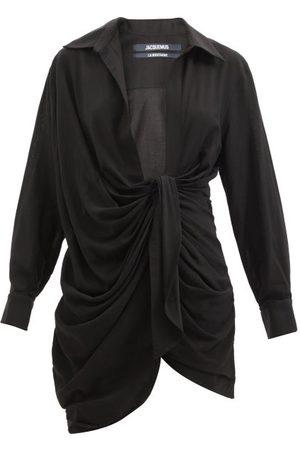 Jacquemus Robe-chemise courte en sergé nouée Bahia