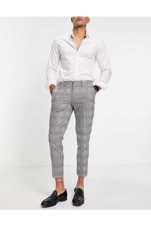 Selected Homme Pantalon de costume skinny - Carreaux blancs