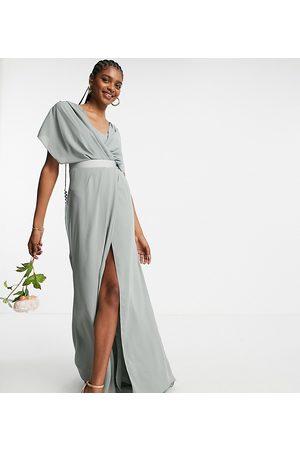 ASOS ASOS DESIGN Tall - Robe longue à manches courtes pour demoiselle d'honneur avec col bénitier et dos boutonné - Olive