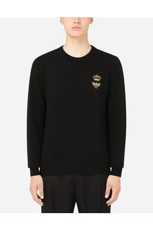 Dolce & Gabbana Pulls - Pull ras de cou en laine à broderie male 42