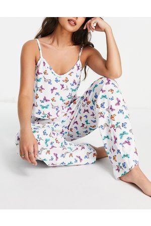 Wednesday's Girl Ensemble de pyjama avec caraco et pantalon à imprimé papillon