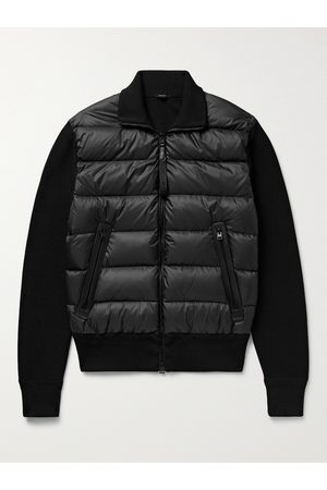 Tom Ford Homme Vestes en cuir - Slim-Fit Leather-Trimmed Ribbed Wool and Quilted Shell Down Jacket