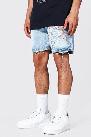 Boohoo Relaxed Fit Rip & Repair Painted Denim Short Homme