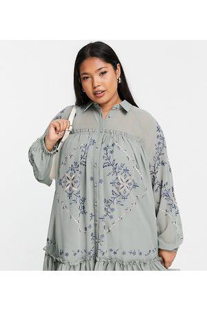 ASOS ASOS DESIGN Curve - Robe chemise babydoll courte et douce à broderies