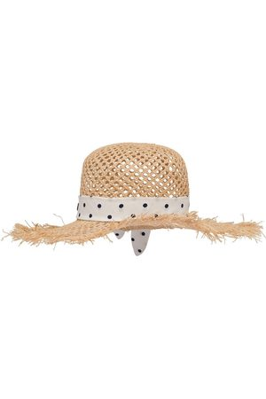 Miu Miu Chapeau tressé à ruban à pois