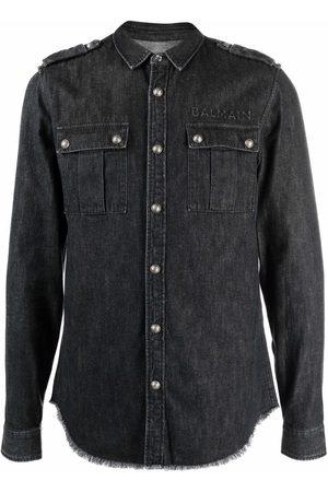 Balmain Homme En jean - Logo-detail washed denim shirt