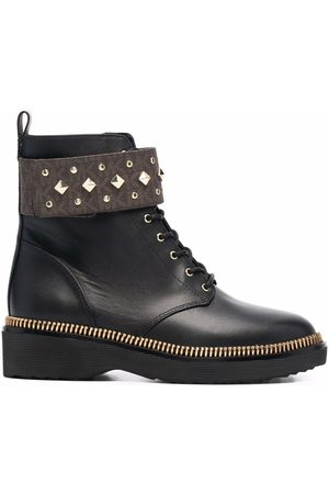 Michael Kors Haskell studded logo leather boots
