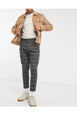 ASOS Pantalon court à pinces habillé fuselé en mélange de laine à carreaux